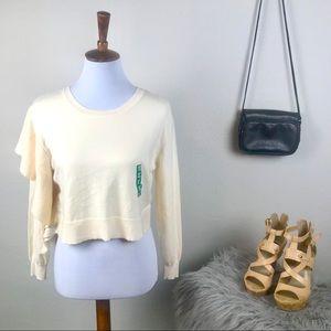Zara knit cream ruffle sleeve cropped sweater sm